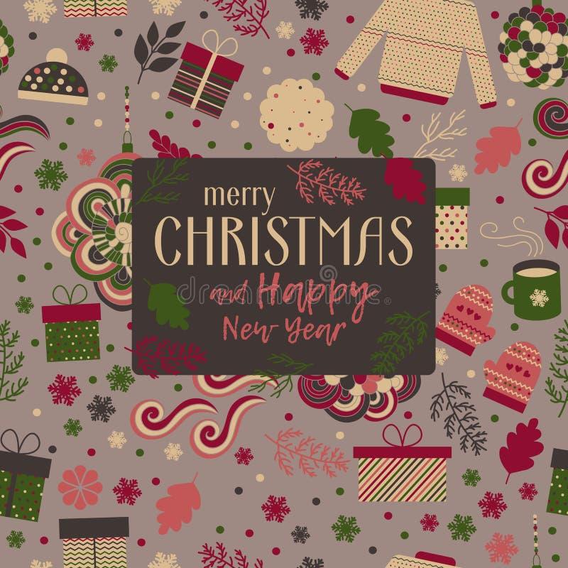Vector de la tarjeta de felicitación de la Navidad ilustración del vector