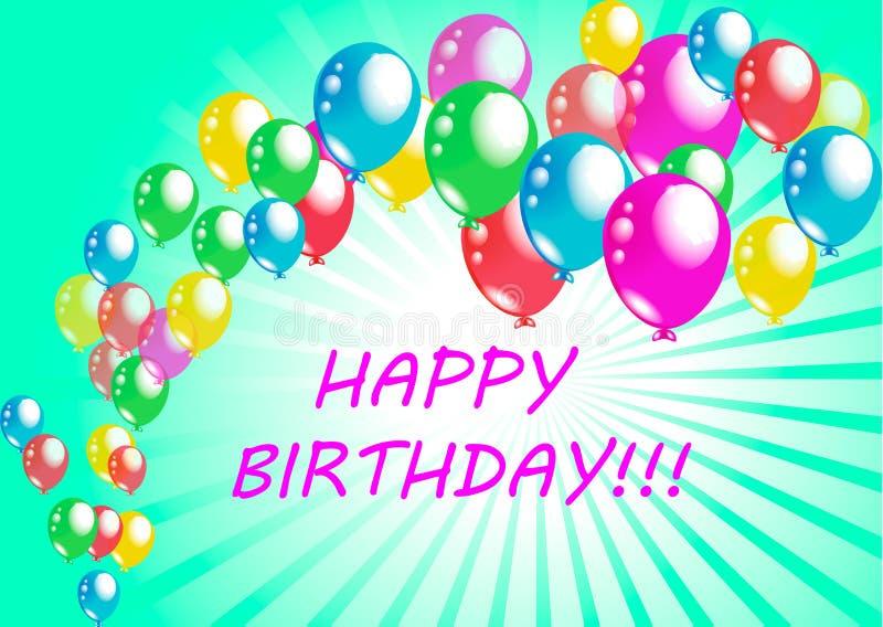Vector de la tarjeta de felicitación del cartel del feliz cumpleaños libre illustration