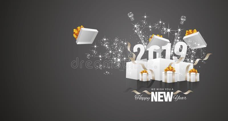 Vector 2019 de la tarjeta de felicitación del paisaje del negro de la caja del fuego artificial de la Feliz Año Nuevo ilustración del vector