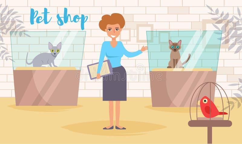 Vector de la tienda de animales historieta Arte aislado Mujer plana de la demostración del gato stock de ilustración