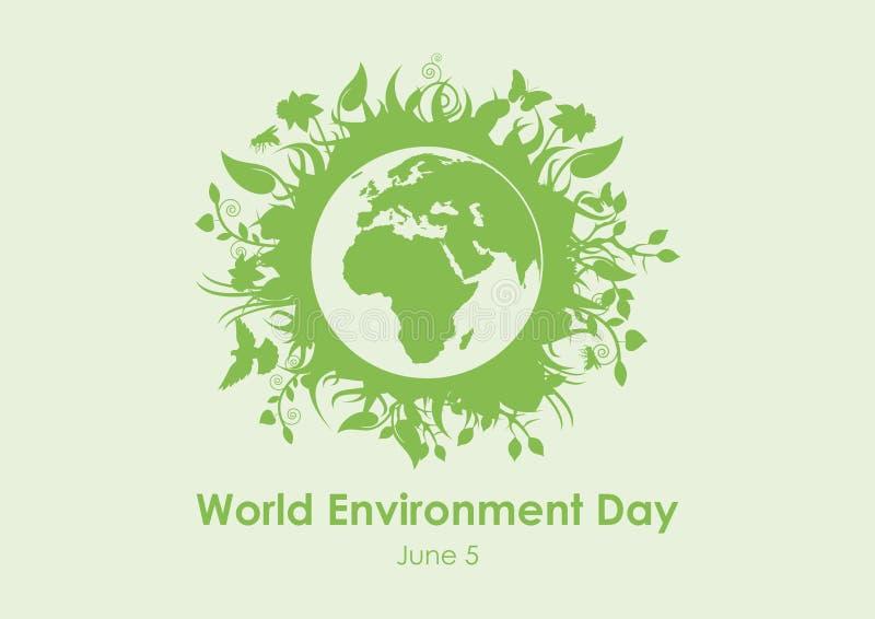 Vector de la tierra del planeta de Eco del día del ambiente mundial ilustración del vector
