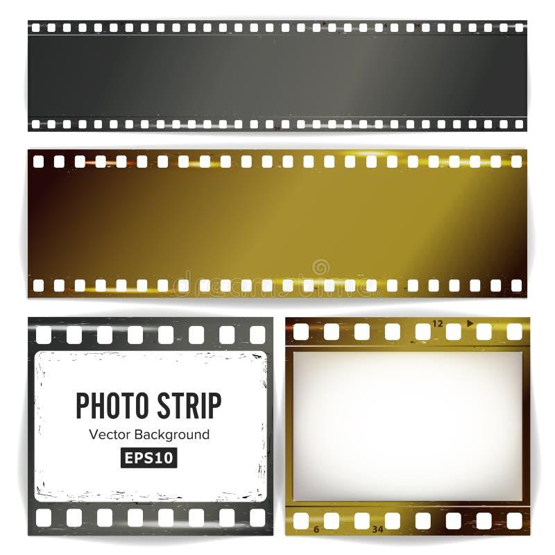 Vector de la tira de la foto Espacio en blanco vacío realista de la tira del marco Plantilla rasguñada Grunge aislada en el fondo libre illustration
