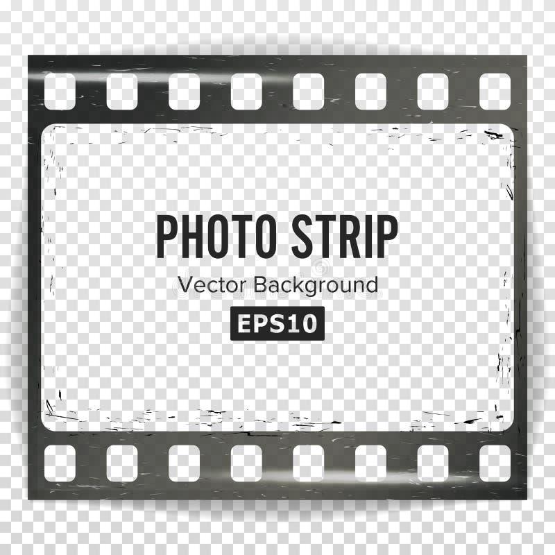 Vector de la tira de la foto Espacio en blanco vacío realista de la tira del marco Plantilla rasguñada Grunge aislada en fondo tr ilustración del vector