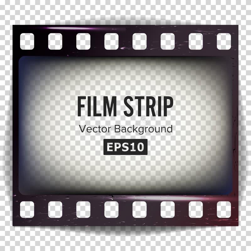 Vector de la tira de la película Espacio en blanco de la tira del marco rasguñado aislado en fondo transparente ilustración del vector