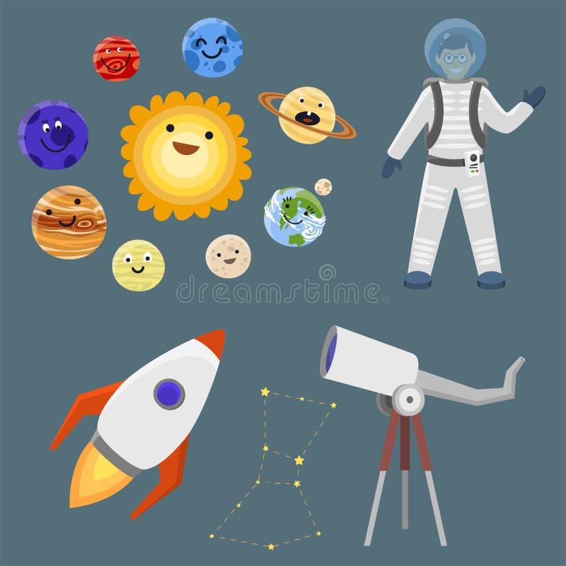 Vector de lanzadera futuro del cohete del cosmonauta del vehículo espacial de la exploración de la Sistema Solar de la nave espac ilustración del vector
