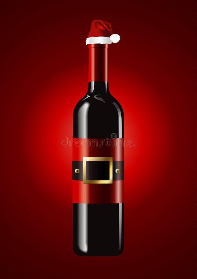 Vector de las botellas de vino con el sombrero de Papá Noel libre illustration