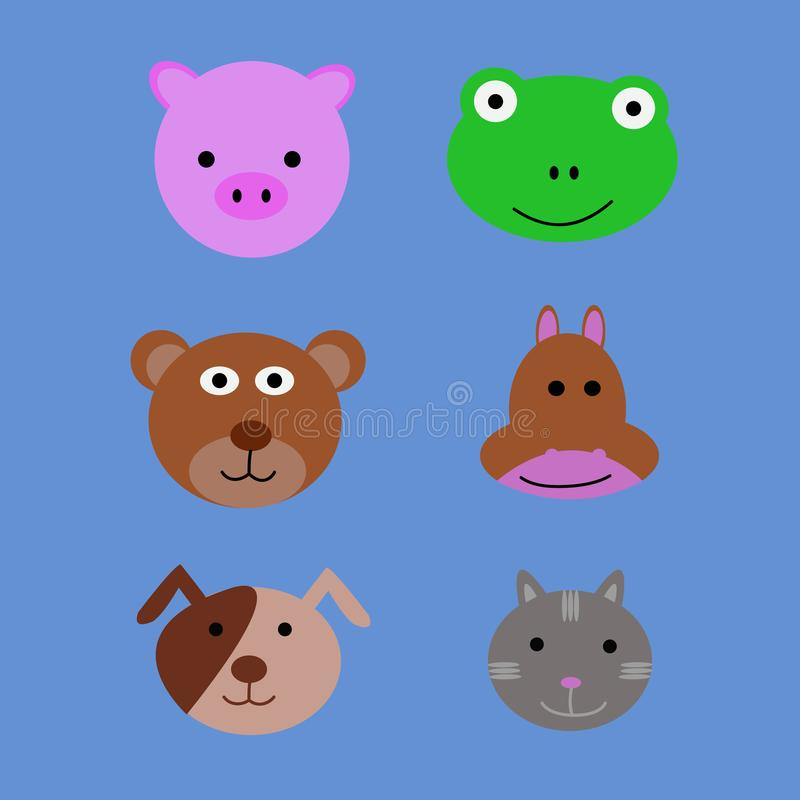 Vector de las caras animales stock de ilustración