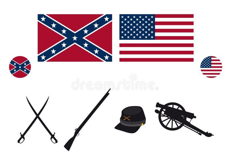 Vector de las cualidades de los E.E.U.U. de la guerra civil stock de ilustración