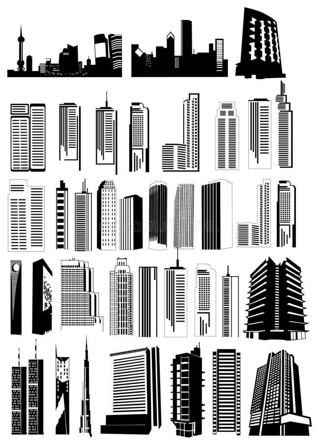 Vector de las dimensiones de una variable de los edificios imagenes de archivo