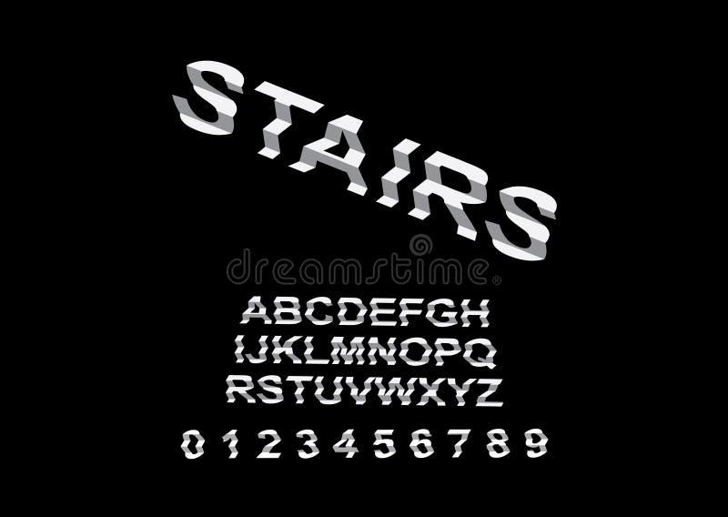 Vector de las escaleras interesantes inusuales modernas de la fuente y del alfabeto ilustración del vector