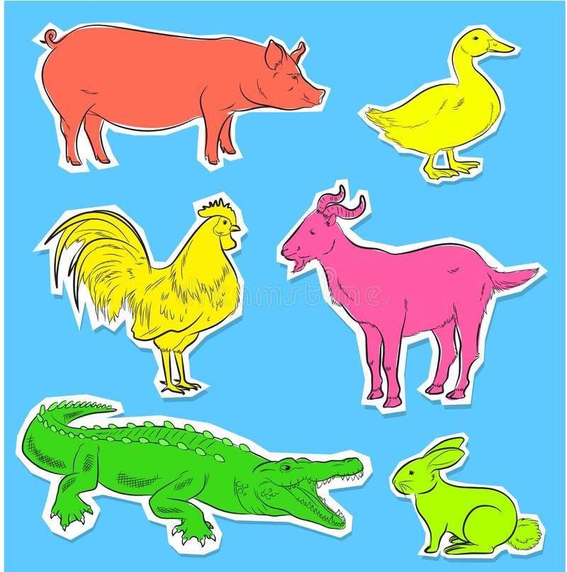 Vector de las etiquetas engomadas de los animales salvajes y del campo stock de ilustración