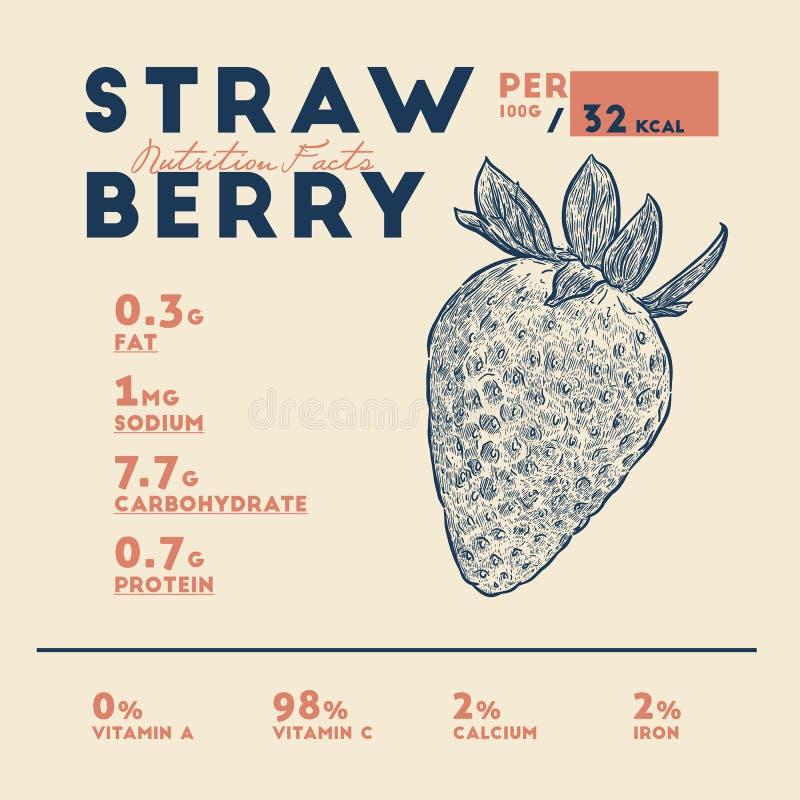 Vector de las fresas de los hechos de la nutrici?n stock de ilustración