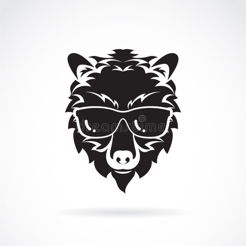 Vector de las gafas de sol del desgaste del oso en el fondo blanco Animales salvajes Moda del oso Ejemplo acodado editable f?cil  libre illustration