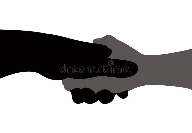 Vector de las manos que sacuden, negro y gris del color de la silueta ilustración del vector