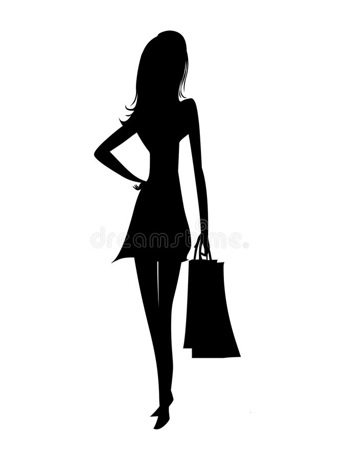 Vector de las mujeres de las compras Silueta de la mujer de las compras stock de ilustración