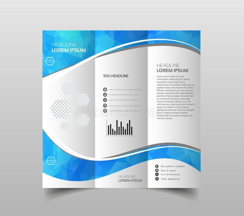 Vector de las plantillas triples del diseño del folleto con el fondo poligonal moderno en blanco Plantilla moderna de la presenta stock de ilustración