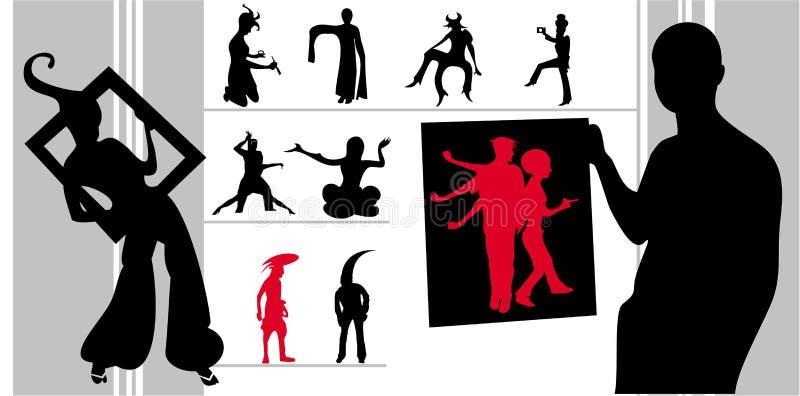 Vector de las siluetas de los extranjeros ilustración del vector