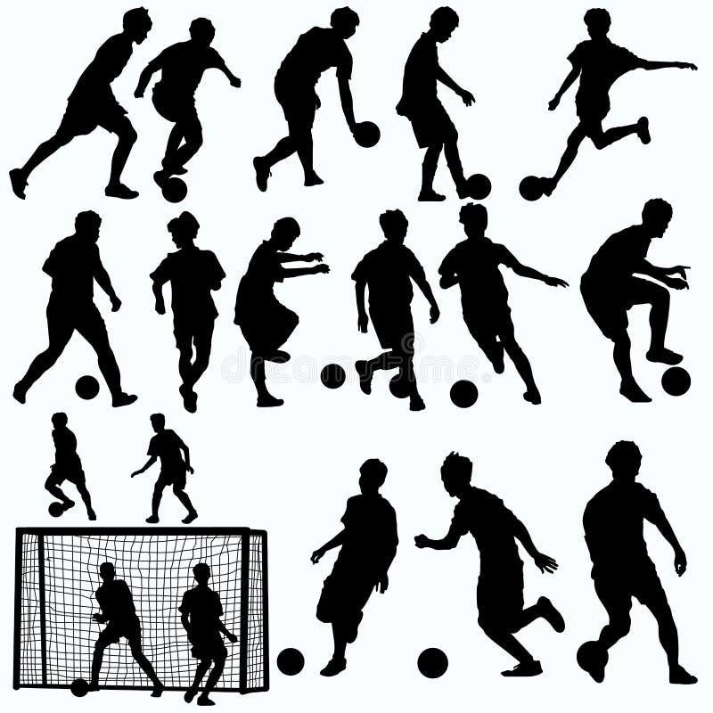 Vector de las siluetas de los jugadores de Futsal stock de ilustración
