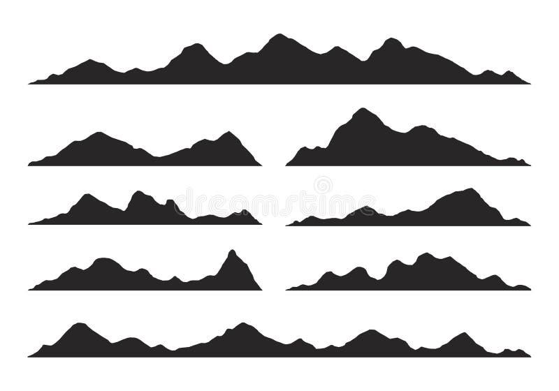 Vector de las siluetas de las montañas stock de ilustración