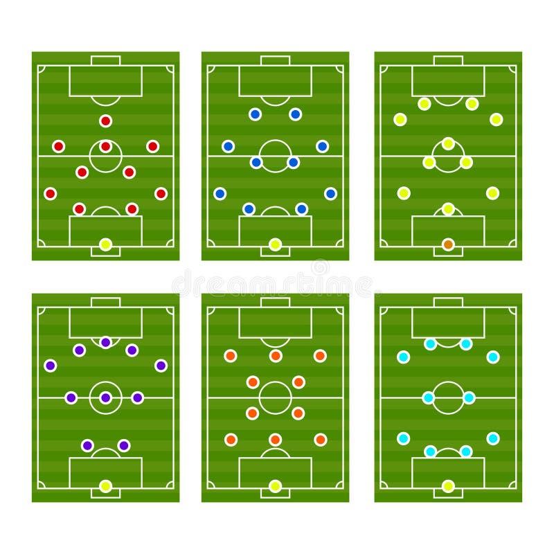 Vector de las táctica del esquema del juego de fútbol stock de ilustración