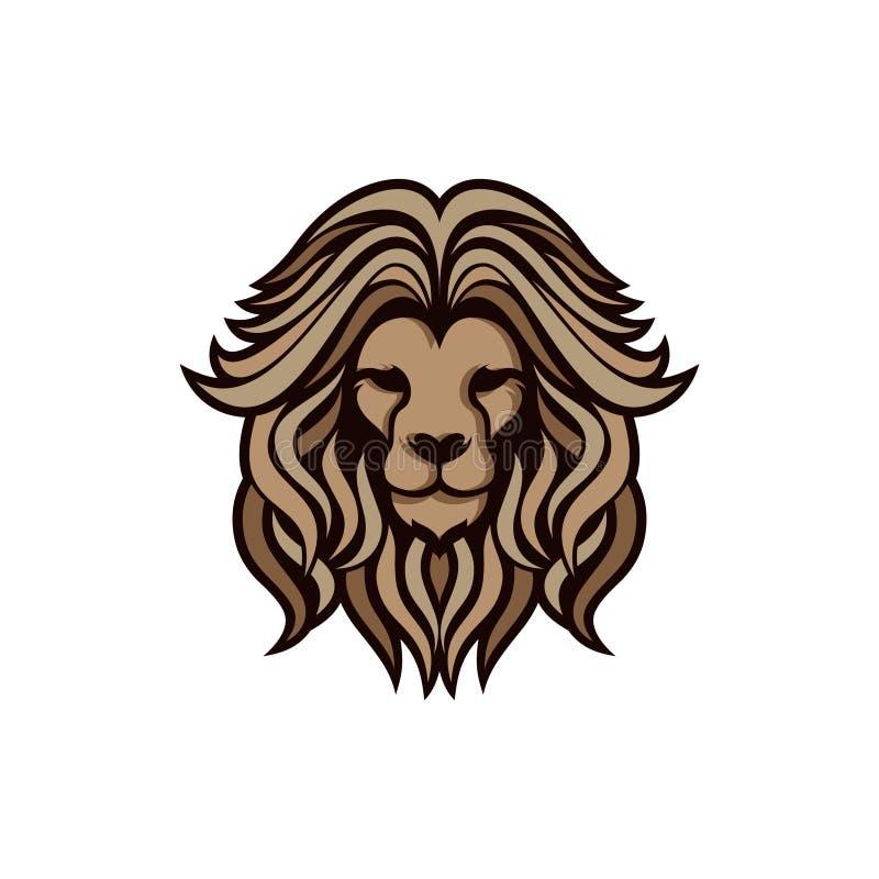 Vector de leeuwhoofd van het embleemconceptontwerp stock illustratie