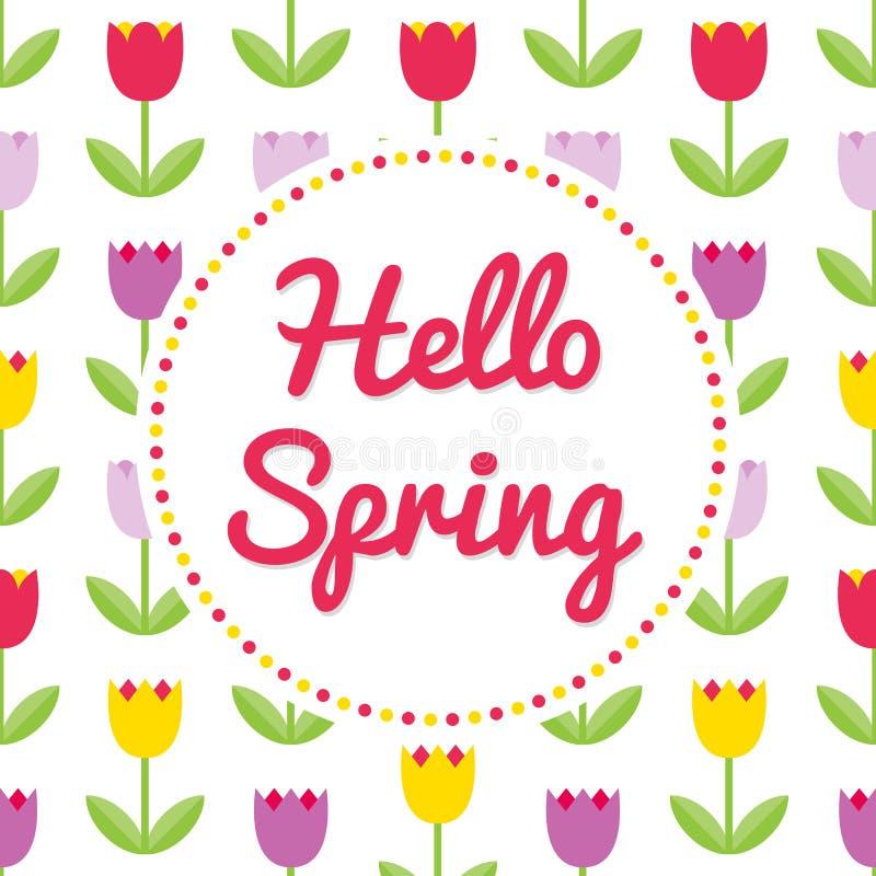 Vector de lenteachtergrond De lentetulpen en rond kader Vector royalty-vrije illustratie