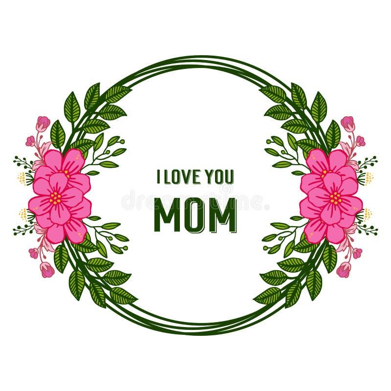 Vector de liefdemamma van de illustratiebanner met het roze en groene blad van de overladen kaderbloem royalty-vrije illustratie