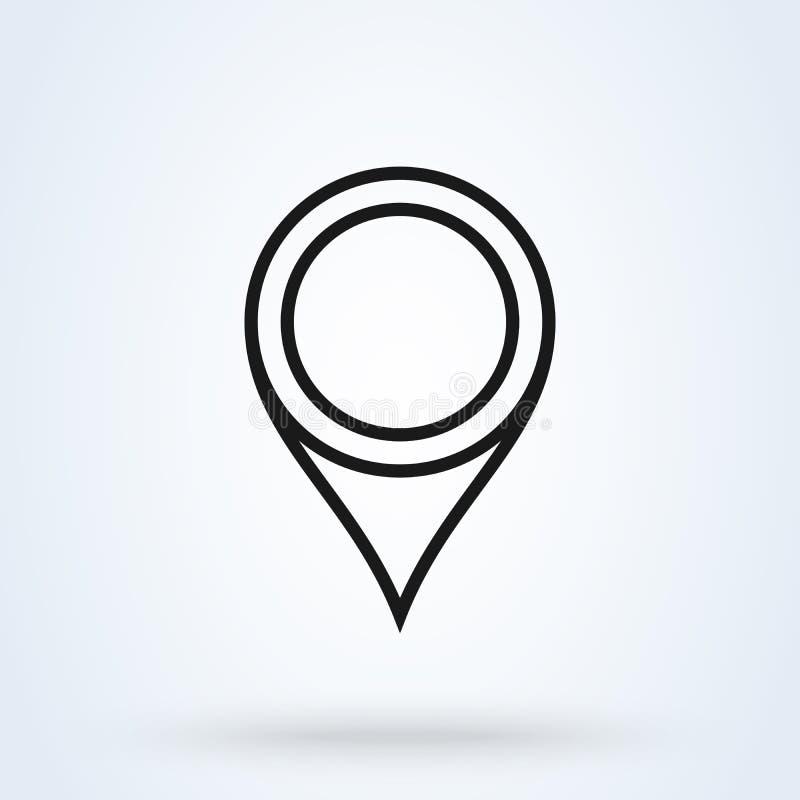 Vector de lijnart. van het speldpictogram Plaatsteken op witte achtergrond wordt ge?soleerd die Dit is dossier van EPS10-formaat stock illustratie