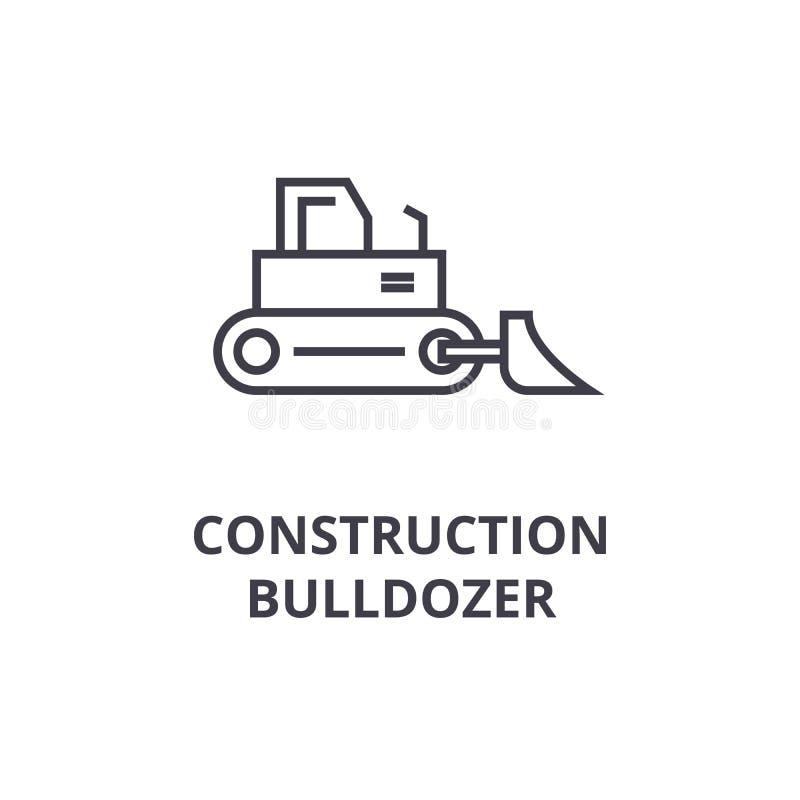 Vector de lijnpictogram van de bouwbulldozer, teken, illustratie op achtergrond, editable slagen stock illustratie