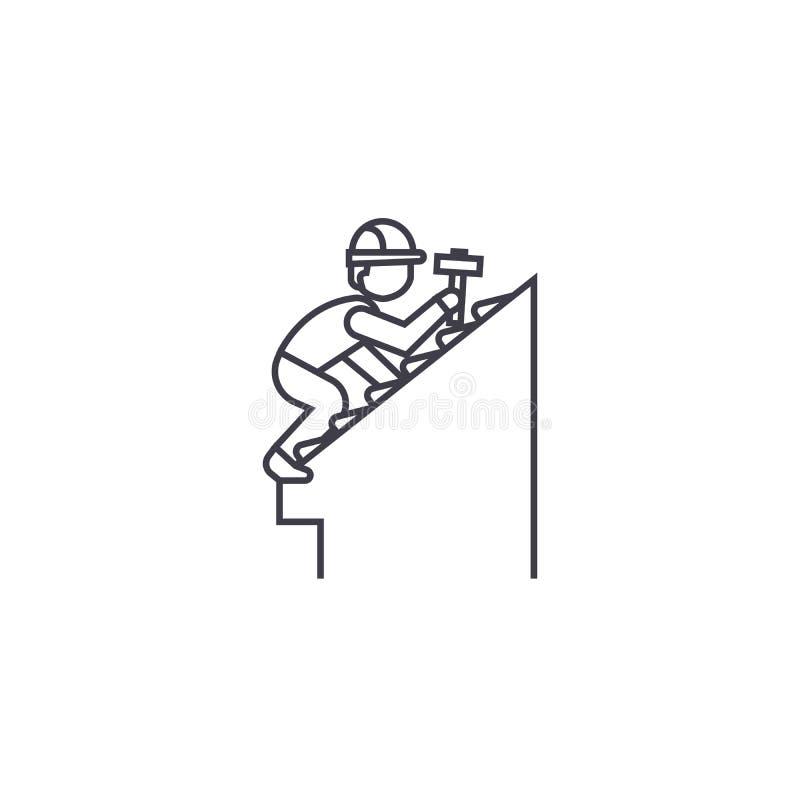 Vector de lijnpictogram van de dakreparatie, teken, illustratie op achtergrond, editable slagen royalty-vrije illustratie