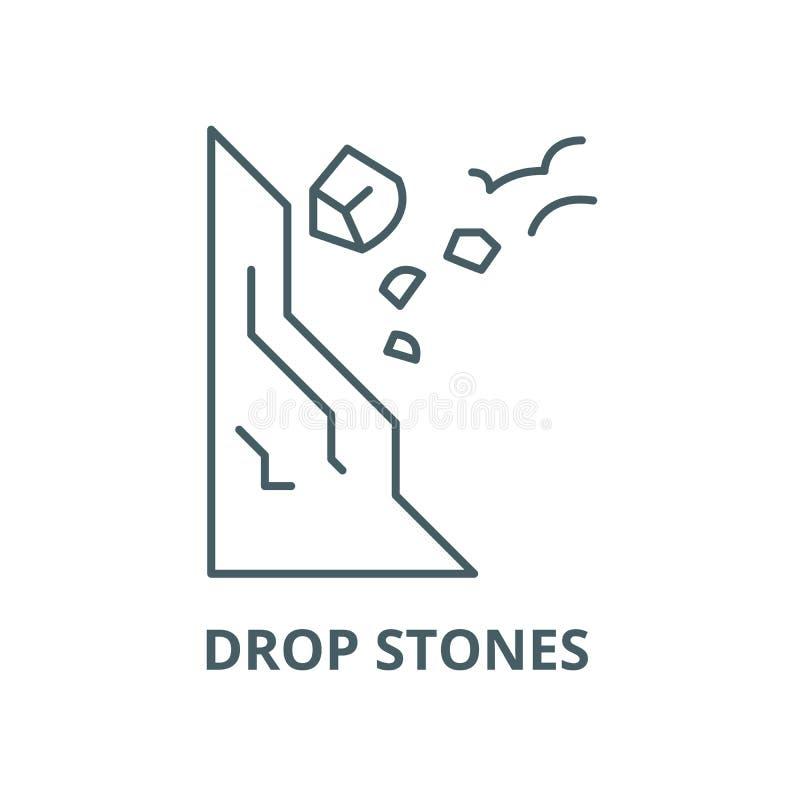 Vector de lijnpictogram van dalingsstenen zorgvuldig, lineair concept, overzichtsteken, symbool stock illustratie