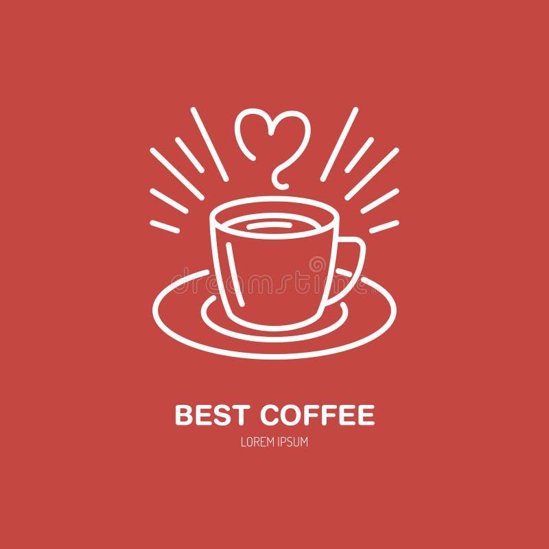 Vector de lijnpictogram van de koffiekop Het lineaire embleem van het Baristamateriaal Overzichtssymbool voor koffie, bar, winkel stock illustratie