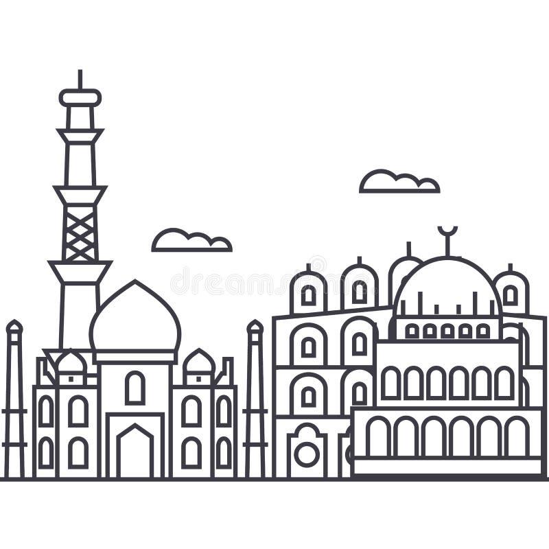 Vector de lijnpictogram van Delhi, India, teken, illustratie op achtergrond, editable slagen royalty-vrije illustratie