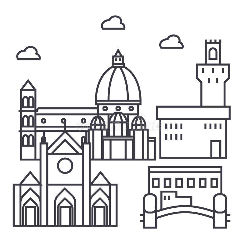 Vector de lijnpictogram van Florence Italië, teken, illustratie op achtergrond, editable slagen stock illustratie