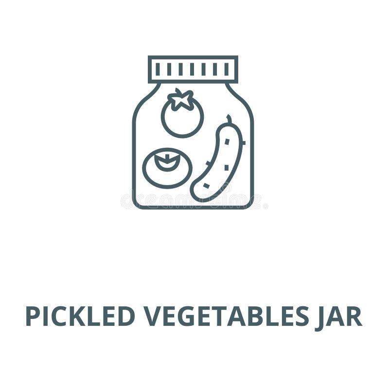 Vector de lijnpictogram van de groenten in het zuurkruik, lineair concept, overzichtsteken, symbool stock illustratie