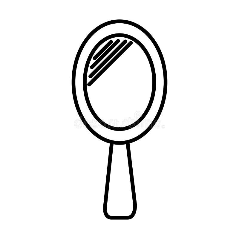 Vector de lijnpictogram van de handspiegel, teken, illustratie op achtergrond, editable slagen royalty-vrije illustratie