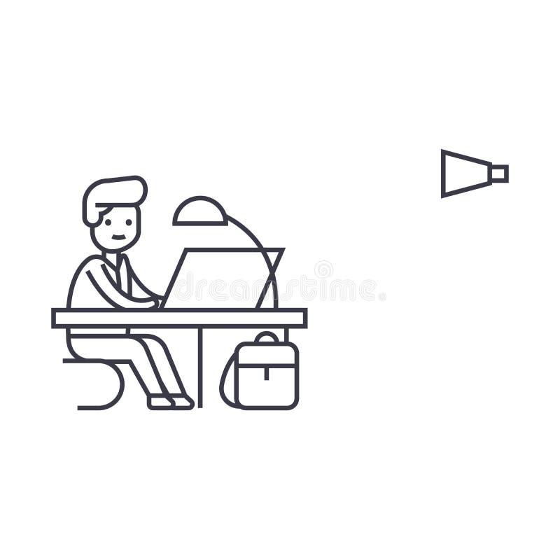 Vector de lijnpictogram van het bureauwerk, teken, illustratie op achtergrond, editable slagen stock illustratie