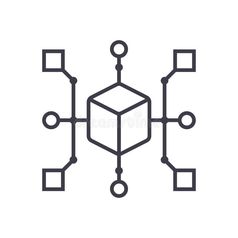 Vector de lijnpictogram van het clusterdiagram, teken, illustratie op achtergrond, editable slagen royalty-vrije illustratie