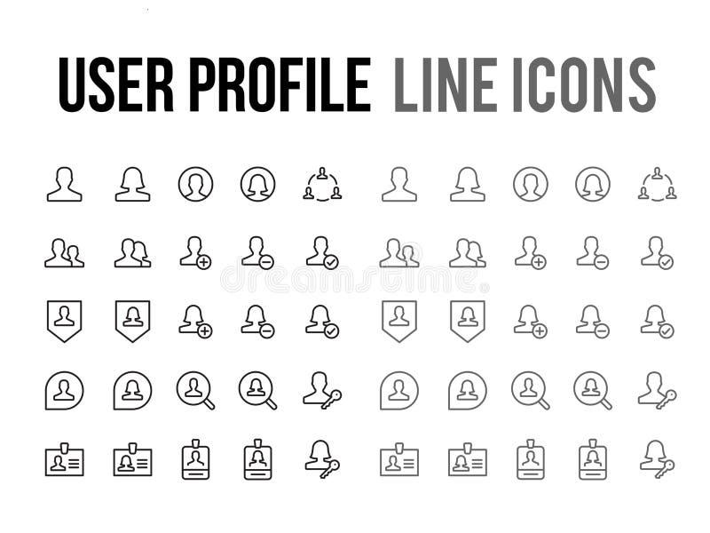 Vector de lijnpictogram van het gebruikersprofiel voor app, mobiele ontvankelijke website royalty-vrije illustratie