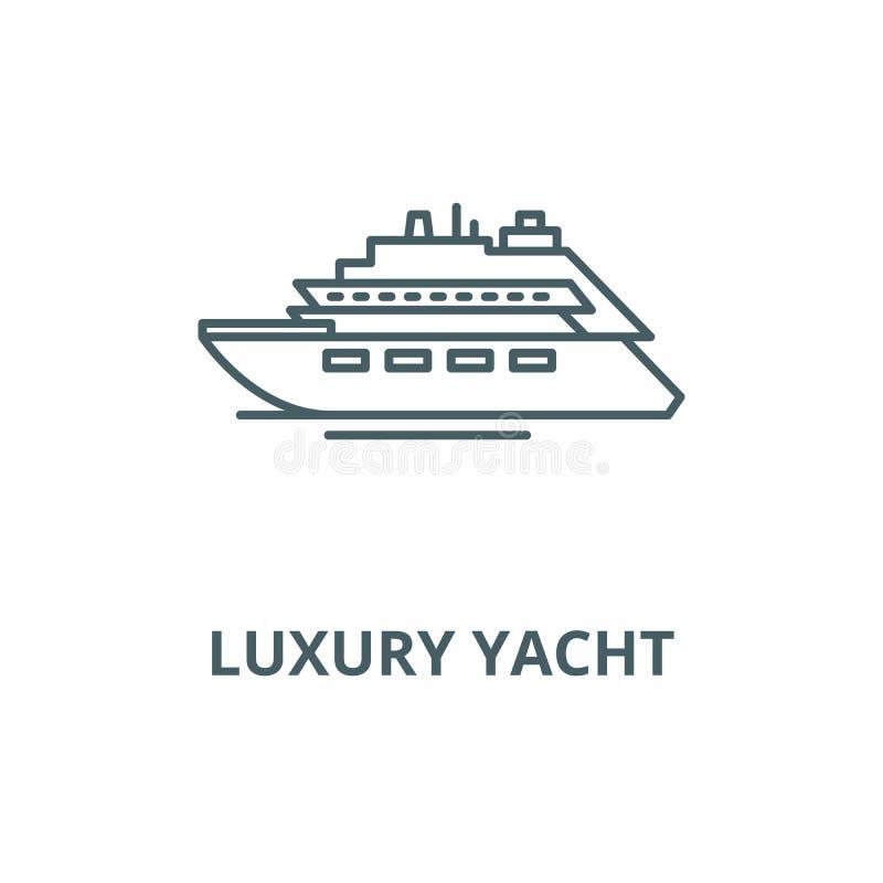Vector de lijnpictogram van het luxejacht, lineair concept, overzichtsteken, symbool royalty-vrije illustratie