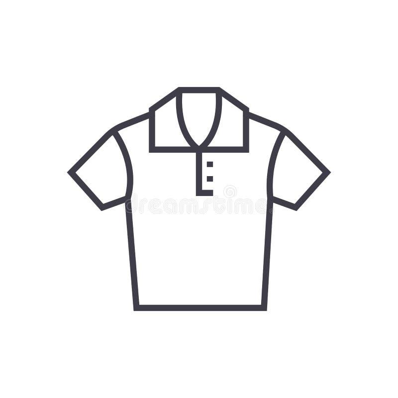 Vector de lijnpictogram van het polooverhemd, teken, illustratie op achtergrond, editable slagen vector illustratie
