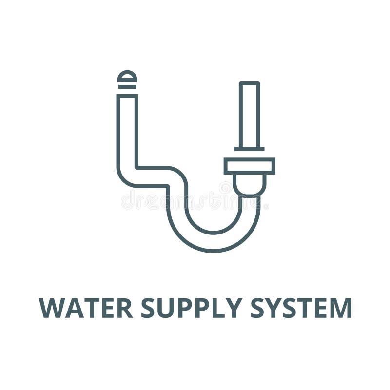 Vector de lijnpictogram van het watervoorzieningssysteem, lineair concept, overzichtsteken, symbool stock illustratie