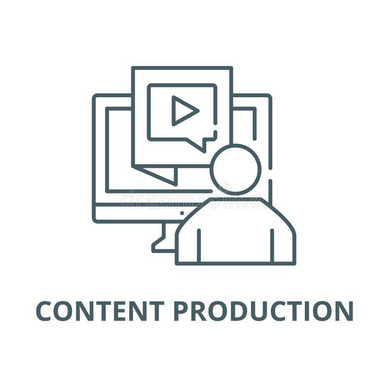 Vector de lijnpictogram van de inhoudsproductie, lineair concept, overzichtsteken, symbool vector illustratie