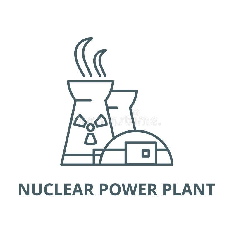 Vector de lijnpictogram van de kernenergieinstallatie, lineair concept, overzichtsteken, symbool stock illustratie