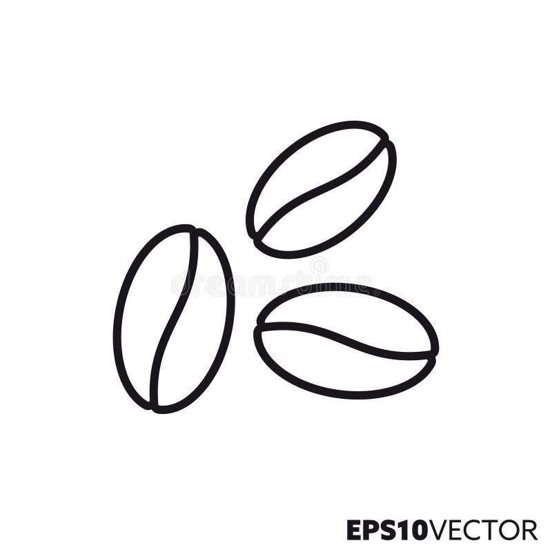 Vector de lijnpictogram van koffiebonen stock illustratie
