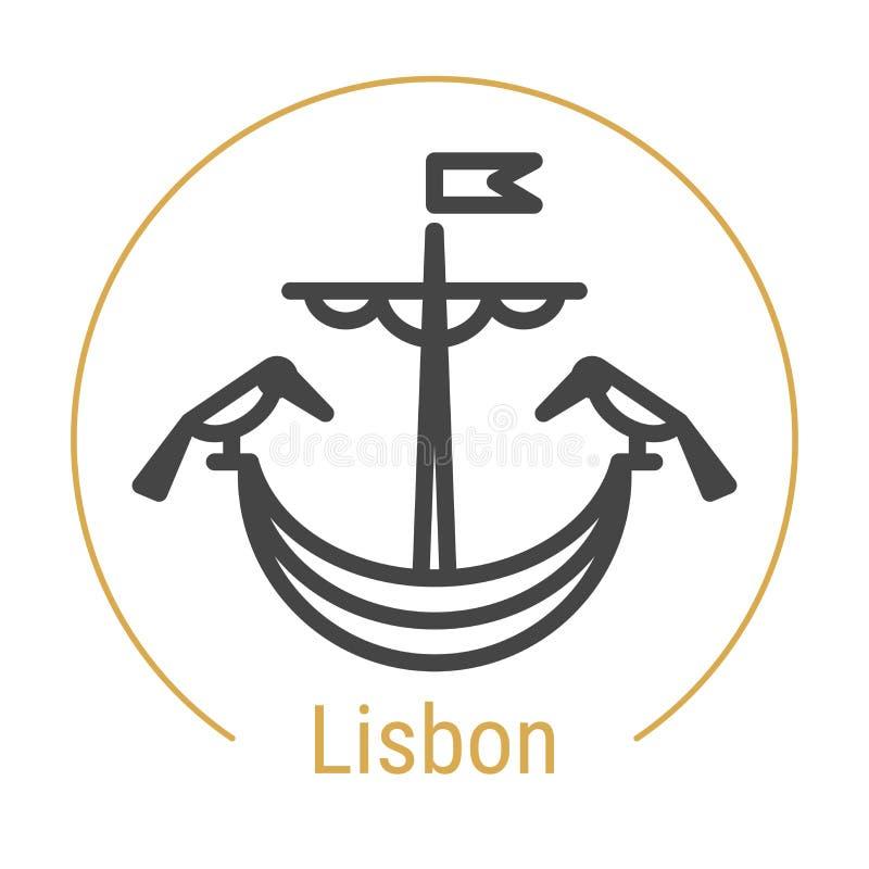 Vector de Lijnpictogram van Lissabon, Portugal vector illustratie