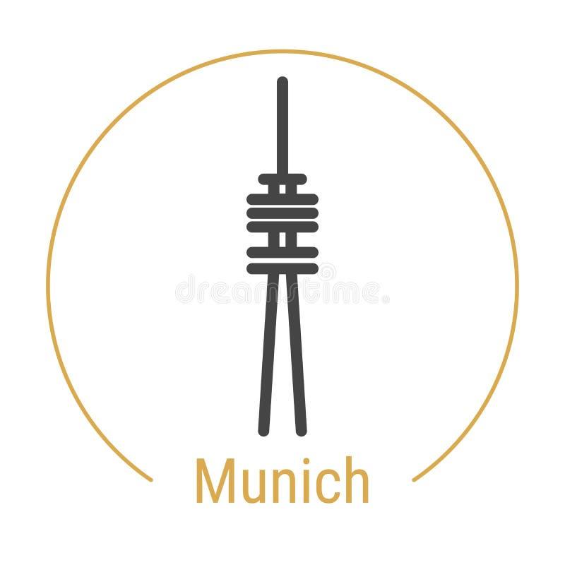 Vector de Lijnpictogram van München, Duitsland stock illustratie