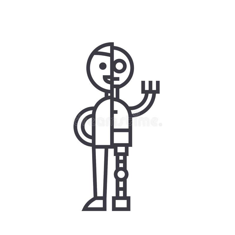 Vector de lijnpictogram van de mensen androïde robot, teken, illustratie op achtergrond, editable slagen royalty-vrije illustratie
