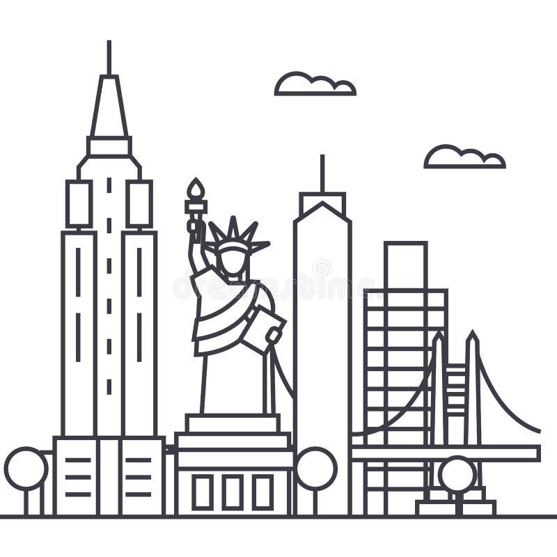 Vector de lijnpictogram van New York de V.S., teken, illustratie op achtergrond, editable slagen vector illustratie