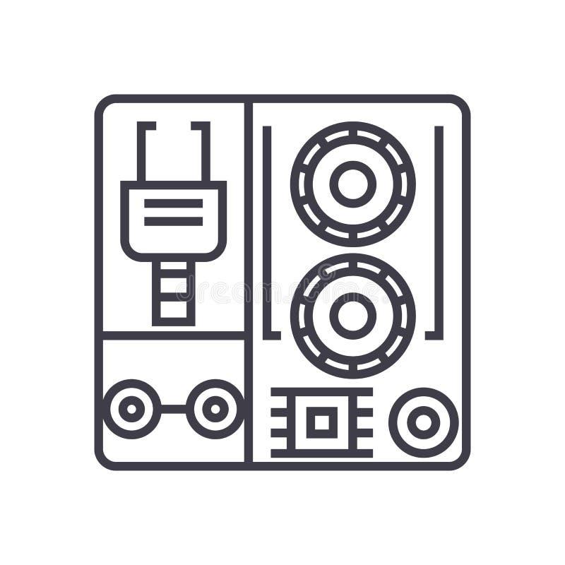 Vector de lijnpictogram van robot industrieel uitrustingen, teken, illustratie op achtergrond, editable slagen royalty-vrije illustratie